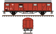Vector illustration of two-axle boxcar Güterwagen Gbs 254 from the Deutsche Bundesbahn era (DB). Wagon was manufactured in the early 70s of last century. Güterwagen. Side and front view with all tehnical inscriptions in German. EDITORIAL USE