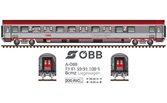 Vector illustration of Soviet diesel-hydraulic locomotive with nickname Ludmilla - red livery and logo of BDZ. Side and front view. The engine is known as serie 07 in Bulgaria. Built by the locomotive factories in Lugansk and designed to serve passenger and freight trains. EDITORIAL USE