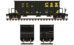 Vector illustration of aggregate open top hopper car for carriage of heavy bulk commodities. The car has a steel body which provides bigger strength and durability all through period of exploitation. These freight cars are of the latest generation. They are manufactured in 2014. Such a model hoppers are used as rolling stock from American railroad company CSX Transportation. Isolated objects over white background.