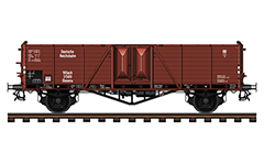 Vector illustration with side view of cargo car for transport of bulk goods, coal, scrap, steel and wood. Manufactured en masse from 1939 to 1945 in Germany and was used for the needs of the Third Reich. Carriage of goods relatively resistant to weather conditions. Reporting mark DR, Villach, Ommru.