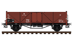 Vector illustration with side view of railway gondola for transport of bulk goods. Reporting mark DR - German National Railway after World War II. Wagon was used by the German authorities in the area of English and American control after the division of Germany as zones of influence after the war.