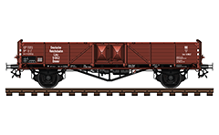 Vector illustration of gondola wagon Ommr for transport of bulk goods, coal, scrap, steel and wood. These cars are used for the carriage of goods that are relatively resistant to weather conditions. Manufactured in Germany and was used for the needs of the Third Reich. Detailed and colored AutoCAD drawing with railway tracks, all technical parameters and markings. The wagon have a serial number 9 862 and name Linz, Deutsche Reichsbahn (German National Railway). Isolated object over white background.