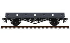 "Vector illustration with side view of flatbed combat wagon Ommr type used by the Nazi troops during the Second World War. Armored railroad vehicle with orifices for weapons - category ""Armored trains""."