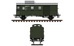 Side and front view with postal wagon in green livery from the time of World War II. Reporting mark DR - Deutsche Reichsbahn, Stuttgart, Pwgs. Vector illustration with side and front view.