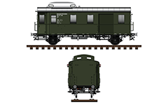 Side and front view with railway postal wagon type Pwgs 41 from the time of World War II between 1939-1945. Reporting mark DRB - Deutsche Reichsbahn, Dresden, Pwgs.