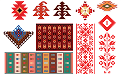 Vector illustration of colorful ethnic motifs. The composition contains colorful rugs, karakachka, stylized flower and crosses. They are an ancient symbols woven into carpets and the national Bulgarian costumes. The artwork may be used as a template and easy to modify. Isolated objects over white background.