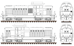 High-detailed vector drawing of diesel-electric locomotive Serie 55 used by Bulgarian State Railways. Side and front view with many details drawn in AutoCAD. All elements of the sketch are arranged in separate layers. The diagram can be used as a template for 3d modeling or illustrative scheme.
