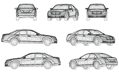 Wire model of luxury car. Sleek and aerodynamic design. Business class. Front, rear, side and axonometric view. Three-dimensional polygonal design. Isolated objects on white background. Drawing suitable for illustrative purposes and advertising.