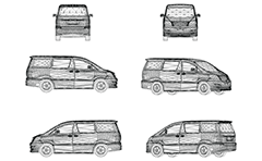 Vector drawing with wire model of passenger van for carriage of people. Front, rear, side and axonometric view. Three-dimensional polygonal design. Isolated objects on white background. Drawing suitable for illustrative purposes and advertising.