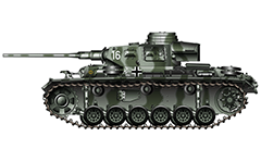 Vector illustration of Panzerkampfwagen III Ausführung J from armoured 11th Panzer Division of Wehrmacht. The machine was involved in hostilities on the Eastern Front, Southern sector, part of the Army Group South, 1942, USSR (Union of Soviet Socialist Republics). The tank is painted in gray-green camouflage. On the left board are shown the insignia of division - yellow circle with a vertical line in the middle, and white ghost with sword on left hand. This tank brigade took part in fight actions for the first time in the invasion of Yugoslavia in April 1941. Commander of the 11th division from 16 May 1942 to 4 March 1943 is General der Panzertruppe Hermann Balck. Detailed AutoCAD drawing colored in Adobe Illustrator CS6. Isolated object over white background.