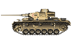 "Vector illustration of Panzerkampfwagen III Ausführung J from armoured 15th Panzer Division of Wehrmacht. The machine was involved in hostilities during the World War II in North Africa from 1941 to 1943. The division was transported to Libya in April 1941 and used in the battle of Gazala, Tobruk, battle of Kasserine Pass and El Alamein. The Division suffered severe loses at the Second battle of El Alamein in November 1942 and was forced to retreat along with the rest of the Afrikakorps. The tank is painted in sandy golden camouflage. The red identification number ""2"" is repeated at the rear of the turret. Notable