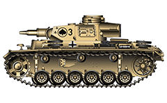 "Vector illustration of Panzerkampfwagen III Ausführung N, personal number ""3"" from 8th Panzer Regiment from armoured 15th Panzer Division of Wehrmacht. The tank was involved in hostilities during the World War II in Tunisia 1943, North Africa. ""Ace of Spades"" emblem is painted on turret."