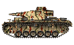 "Vector illustration of Panzerkampfwagen III Ausführung N with short gun 75-mm howitzer from armoured 6th Panzer Division, 11th Panzer Regiment of Wehrmacht. Tank number ""904"" is painted in white on turret and repeated at the rear. Tri-color camouflage scheme."