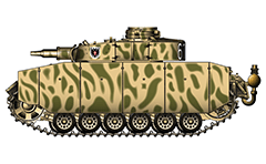 "Vector illustration of Panzerkampfwagen III Ausführung N with short gun 75-mm howitzer from armoured 2nd Panzer Division, 3rd Panzer Regiment. The machine was involved in hostilities during the World War II in summer 1943 on Eastern front in the Battle of Kursk. The three-digit tactical number ""615"" is shown  only on the rear of the turret armour. On the side armor is added the coat of arms of the division with shield, cross and double headed eagle. The tank is painted in yellow-green stripe camouflage pattern. Armor skirts (schürzen in German language) are designed to provide protection primarily against Russian anti-tank rifles and low velocity high explosive rounds. They are made from steel plates. Excellent AutoCAD drawing colored with Adobe Illustrator CS6 with separate layers for the elements of tank: visible (gun, hatch, bumpers, etc.) and invisible (covered from the armor like a metal jack and metal box, Teutonic white-black cross, light etc.). Isolated object over white background."