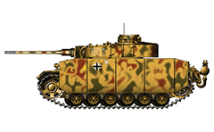 "Vector illustration of Panzerkampfwagen III Ausführung M with long anti-tank gun 5 cm KwK 39 and 7.92 mm MG 34 machine gun from armoured 6th Panzer Division, 11th Panzer Regiment. The machine was involved in hostilities during the World War II in summer 1943 on Eastern front in the Battle of Kursk, Belgorod. The three-digit tactical number ""601"" is shown only on the side of the turret armour. On the side skirts are added also the initials ""Op"" of General Hermann von Oppeln-Bronikowski who commanded the 20th Panzer Division, Teutonic white-black cross and Kursk insignia in yellow color of code-named Operation Citadel. The tank is painted in dark yellow and green-red stripe camouflage pattern. Armor skirts (schürzen in German language) are designed to provide protection primarily against Russian anti-tank rifles and low velocity high explosive rounds. They are made from steel plates. Excellent colored AutoCAD drawing with separate layers for the elements of tank. Isolated object over white background."