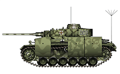 Vector illustration of Panzerbefehlswagen III Ausführung K with long anti-tank gun KwK 39 from WW II. Equipment - antenna radio station FuG-8, tubular smoke grenade launchers on turret and side armor skirts (schürzen). Tank was probably used by the 19th Panzer Division, near the Eastern Front, Ukraine.