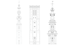 Vector drawing of Westerkerk church tower from Amsterdam city, Netherlands. The Western church tower  was built between 1620 and 1631 in Renaissance style, by design of architect Hendrick de Keyser. The tower also is called the Westertoren and she's the highest church tower in Amsterdam - 87 meters.