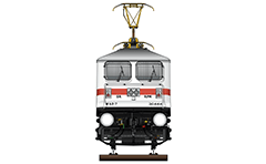 "Vector illustration with front view of high-speed electric locomotive WAP-7 used to serve passenger trains. Details - pantograph WBL-85, AAR tightlock couplers and chain link couplers. WAP-7 mean: W - Broad Gauge, A – AC electric traction, P – Passenger and ""7"" - the serial number of the modification of locomotive. EDITORIAL USE"