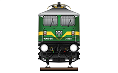 "Vector illustration with front view of electric locomotive WAG-9 used in Indian Railways to serve freight trains. Equipment - pantograph Echeron ES10, AAR tightlock couplers and chain link couplers. Abbreviation WAG-9 mean: W - Broad Gauge, A – AC electric traction, G – Goods and ""9"" - the serial number of the modification of machine. EDITORIAL USE"