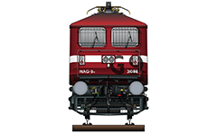 "Vector illustration with front view of electric locomotive class WAG-9 with unique red livery, designed by Mr. Samit Roychoudhury - а longtime member of the Indian Railways Fan Club Association (IRFCA), cartographer and author of  famous atlas book ""The Great Indian Railway Atlas"". A WAG-9H engine is heavier variant of the WAG-9. EDITORIAL USE"
