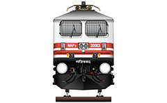"IMPORTANT: EDITORIAL USE ONLY! Vector illustration with front view of passenger high-speed electric locomotive WAP-5 used in Indian Railways. The engine is equipped with pantograph WBL-85 for high speeds, solid frontal plow, AAR tightlock couplers and chain link couplers. Abbreviation WAP-5 mean: W - Broad Gauge, A – AC electric traction, P – Passenger and ""5"" - the serial number of the modification of locomotive. Detailed color drawing with inscription in Hindi Ghaziabad - this mean that locomotive is homed at Ghaziabad. The trains of Gatimaan Express and Bhopal Shatabdi use this type loco and they are moving at a speed of 150 km/h.  Isolated object over white background."