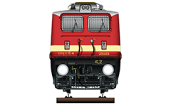 "IMPORTANT: EDITORIAL USE ONLY! Vector illustration with front view of passenger electric locomotive WAP-4 used in Indian Railways. The engine is equipped with pantographs Two Stone India (Calcutta) AM-12, frame frontal plow, AAR tightlock couplers and chain link couplers. Abbreviation WAP-4 mean: W - Broad Gauge, A – AC electric traction, P – Passenger and ""4"" - the serial number of the modification of locomotive. Detailed color drawing with inscription in Hindi for railway company, engine type and serial number. The loco WAP-4 is one of the most widely used machines in India for towing of passenger trains. Isolated object over white background."