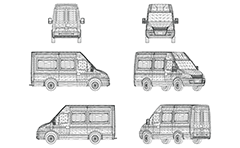 Vector drawing with wireframe diagram of passenger three-dimensional van. Front, rear, side and axonometric view. Three-dimensional polygonal design. Isolated objects on white background. Illustration suitable for illustrative purposes and advertising.