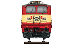 Vector illustration with front view of electric locomotive WAP-1 used by Ghaziabad (GZB) division of the Indian Railways. Details - pantographs Stone India (Calcutta) AM-12, frame frontal plow, AAR tightlock and chain link couplers, frontal headlights, electric horns, all technical inscriptions and designations. EDITORIAL USE