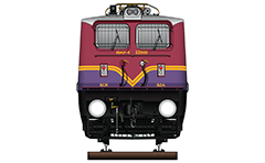 "Vector illustration with front view of passenger electric locomotive WAP-4 used in Indian Railways. Unique livery in cyclamen-purple color and yellow stripes used by Vijayawada electric loco shed. Abbreviation WAP-4 mean: W - Broad Gauge, A – AC electric traction, P – Passenger and ""4"" - the serial number of the engine. EDITORIAL USE"
