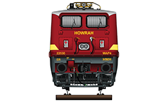 "Vector illustration with front view of passenger electric locomotive WAP-4 used in Indian Railways. The engine is equipped with pantographs Two Stone India ""Calcutta"" AM-12. Detailed color drawing with all inscriptions in English for railway company, machine type and serial number. EDITORIAL USE"
