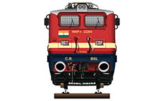 "Vector illustration with front view of passenger electric locomotive WAP-4 from Indian Railways. Pantographs Stone India AM-12, frame-plow, AAR tightlock and chain link couplers. W - Broad Gauge, A – AC electric traction, P – Passenger and ""4"" - the serial number of the modification. EDITORIAL USE"