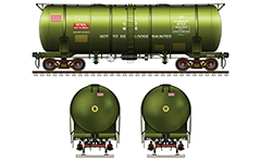 "Vector illustration with Indian bogie tank ""BTFLN"" wagon for transportation of petroleum products. The cistern incorporates CASNUB-22 HS bogie, non-transition CBC coupler and mounted single pipe for airbrakes. Car has green livery with all basic technical inscriptions. EDITORIAL USE"
