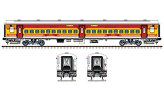 Side and front view of Indian passenger coach LHB type - Linke Hofmann Busch in livery of Antyodaya express train. High-quality colored drawing with many details and all technical inscriptions in Hindi and English. EDITORIAL USE