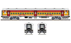 IMPORTANT: EDITORIAL USE ONLY! Vector illustration with side and front view of Indian passenger coach LHB (Linke Hofmann Busch) type in livery of Antyodaya express train with route plate Tatanagar-Lokmanya-Tilak-Terminus. Realistic color drawing with many details and technical inscriptions.  Isolated objects over white background.
