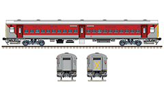 Vector illustration with side and front view of Indian passenger car Linke Hofmann Busch in red-gray livery of express train Bhagat Ki Kothi - Bilaspur (Jodhpur). General seat coach with bio toilets, all technical inscriptions and logo of Indian Railways. EDITORIAL USE