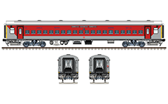 "Vector illustration with side and front view of Indian Non AC Linke Hofmann Busch sleeper car in red-gray livery. Details - CBC ""H"" coupler, FIAT bogies, bio toilets, battery box, ventilation, destination board and number plate, inscriptions and logo of Indian Railways. EDITORIAL USE"