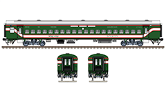 Side and front view of Non AC Linke Hofmann Busch chair car in green livery with red-white stripes of Bangladesh Railway. This coach type is produced in Kapurthala,
