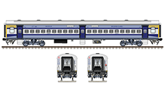 Vector illustration with side and front view of Indian Non AC LHB (Linke Hofmann Busch) chair car type in livery of express train ANVT/Anand Vihar Terminal to UHP/Udhampur.
