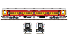 Side and front view of a new Indian passenger coach Linke Hofmann Busch in red-yellow livery of Antyodaya express train. А second-class railway car with 100 seats. Reporting mark WR- Western Railway zone of Indian Railways. Realistic colored drawing with technical inscriptions. EDITORIAL USE