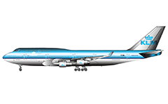 Vector illustration of huge passenger aircraft Boeing 747-400 in the colors of KLM Royal Dutch Airlines. 