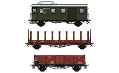 Vector image in high resolution 300 DPI of German postal and two freight (Goods) wagons- Rungenwagen R Stuttgart R 10 and open-top gondola Ommu 37 type. Deutsche Reichsbahn era. Isolated objects over white background.