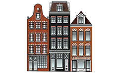 Vector illustration of three classic high-rise houses from Netherlands capital Amsterdam with coffee shops on first ground floor. The front walls of the buildings end with beautiful gables, visible brickwork with shaped fugues, horizontal friezes and beautiful woodwork. Colored architectural drawing with many details.