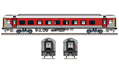 IMPORTANT: EDITORIAL USE ONLY! Vector illustration with side and front view of Air-conditioned 3 Tier LHB (Linke Hofmann Busch) car in red-gray livery of South Eastern Railway zone of Indian Railways.