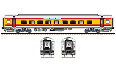 "Vector illustration with side and front view of Air-conditioned 3 Tier LHB (Linke Hofmann Busch) car in red-yellow-white  colors designed by Indian Railways and used from Humsafar Express train for first time between Anand Vihar in Ghaziabad to Gorakhpur in Uttar Pradesh. Realistic color drawing with many details - CBC ""H"" type tight lock coupler, FIAT bogies, intermediate tank bio toilets, brake equipment, battery box, electrical cubical, ventilation, destination board and number plate), technical inscriptions and others. Isolated objects over white background."