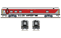 "IMPORTANT: EDITORIAL USE ONLY! Vector illustration with side and front view of Air-conditioned hot buffet car ""Linke Hofmann Busch"" in red-gray livery. This wagon used in South Eastern Railway zone of Indian Railways. 