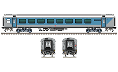 "IMPORTANT: EDITORIAL USE ONLY! Vector illustration with side and front view of Air-conditioned chair  car ""Linke Hofmann Busch"" in blue-gray livery. This car have a 78 seats. Realistic color drawing with many details - CBC ""H"" type tight lock coupler, FIAT bogies, intermediate tank bio toilets, brake equipment, battery box, electrical cubical, ventilation, destination board, technical inscriptions and others. Isolated objects over white background."