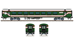 "IMPORTANT: EDITORIAL USE ONLY! Vector illustration with side and front view of AC CHAIR CAR LHB ""Linke Hofmann Busch"" in green livery with red-white stripes of Bangladesh Railway. Similar coach is used by Shatabdi Express. Pantry stores of Indian rake have been converted to Prayer rooms in Bangladesh car. Realistic color drawing with many details - CBC ""H"" type tight lock coupler, FIAT bogies, brake equipment, battery box, electrical cubical, ventilation, destination board and number plate, technical inscriptions in Bengali alphabet and others. Isolated objects over white background."