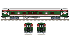 "IMPORTANT: EDITORIAL USE ONLY! Vector illustration with side and front view of temperature controlled AC SLEEPER coach LHB ""Linke Hofmann Busch"" in green livery with red-white stripes of Bangladesh Railway. Similar wagons are used in Indian Railways. Realistic color drawing with many details - CBC ""H"" type tight lock coupler, FIAT bogies, brake equipment, battery box, electrical cubical, ventilation, destination board and number plate, technical inscriptions in Bengali alphabet and others. Isolated objects over white background."