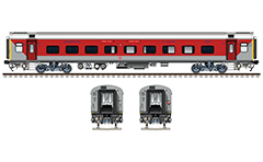 IMPORTANT: EDITORIAL USE ONLY! Vector illustration with side and front view of Air-conditioned two tier LHB (Linke Hofmann Busch) car in red-gray livery of South Eastern Railway zone of Indian Railways. Coach has a 54 seats/berths