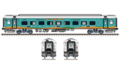 "IMPORTANT: EDITORIAL USE ONLY! Vector illustration with side and front view of Air-conditioned 3 tier LHB ""Linke Hofmann Busch"" car in futuristic color scheme with vinyl sheets livery. This car is used in South East Central Railway zone of Indian Railways. Humsafar Express trains are high-speed long distance express trains aimed at upper-middle-class people. Realistic color drawing with many details - CBC ""H"" type tight lock coupler, FIAT bogies, intermediate tank bio toilets, brake equipment, battery box, electrical cubical, ventilation, destination board and number plate), technical inscriptions and others. Isolated objects over white background."